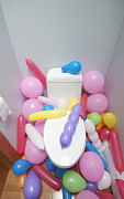 Party Balloons Prints - Balloons in a Bathroom Print by Marlene Ford