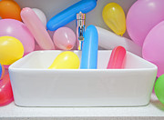 Party Balloons Prints - Balloons in a Sink Print by Marlene Ford