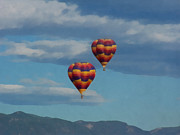 Balloons Over The Rockies Prints - Balloons over the Rockies Painterly Print by Ernie Echols