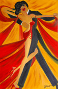 Ballroom Paintings - Ballroom Dancing Tango by Helen Gerro