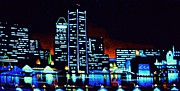 City Skylines Paintings - Baltimore by black light by Thomas Kolendra