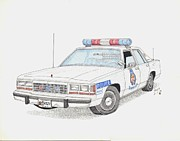 Cop Drawings Posters - Baltimore County Police Car Poster by Calvert Koerber