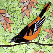 Stained Glass Glass Art Metal Prints - Baltimore Oriole Metal Print by Barbara Benson Keith