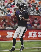 Football Paintings - Baltimore Ravens Joe Flacco by Kim Selig