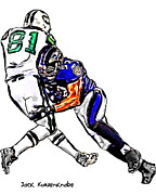 New York Jets Posters - Baltimore Ravens  Ray Lewis - New York Jets Dustin Keller Poster by Jack Kurzenknabe