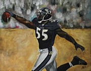 Kim Selig Metal Prints - Baltimore Ravens Terrell Suggs Metal Print by Kim Selig