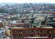 Colorful Buildings Posters - Baltimore Rooftops Poster by Carol Groenen