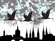 City Hall Mixed Media - Bamberg Silhouette by Rosi Lorz