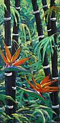 Bird Of Paradise Flower Painting Framed Prints - Bamboo and birds of paradise Framed Print by Richard T Pranke