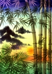 Tropical Sunset Painting Framed Prints - Bamboo at Sunset Framed Print by Jennifer Baird