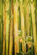 Unique Oil Paintings - Bamboo Balance by Barbara Eberhart - Printscapes