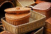 Baskets Pyrography Posters - Bamboo Baskets Poster by Charuhas Images