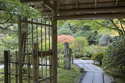 Bamboo Fence Photo Posters - Bamboo Gate And Traditional Arch Poster by Douglas Orton