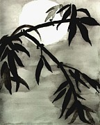 Bamboo In Moonlight - Watercolor Painting Print by Merton Allen