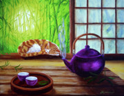 Bamboo House Painting Framed Prints - Bamboo Morning Tea Framed Print by Laura Iverson
