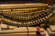 Flute Photos - Bamboo Pan Flutes At An Outdoor Market by Todd Gipstein