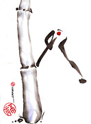 Sumi Ink Framed Prints - Bamboo Spirit Dance Framed Print by Casey Shannon