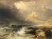Ship Rough Sea Framed Prints - Bamborough Castle Framed Print by Willliam Andrews Nesfield