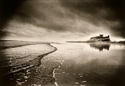 Light And Dark   Prints - Bamburgh Castle Print by Simon Marsden