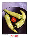 Wooden Bowl Prints - Banana and Haberno Peppers Print by Jerry Taliaferro