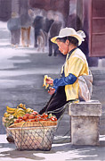 Chinese Woman Watercolor Posters - Banana Break Poster by Sharon Freeman