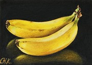 Colored Background Drawings - Banana by Christine Karron