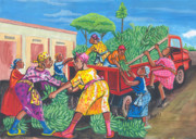 Fruit Market Drawings Posters - Banana Delivery in Cameroon 01 Poster by Emmanuel Baliyanga