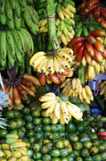 Food And Beverage Framed Prints - Banana display. Framed Print by Jane Rix