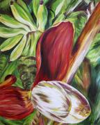 Close Up Painting Metal Prints - Banana Flower Metal Print by Barbara Eberhart