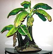 Hand Crafted Mixed Media - Banana Tree Sculpture ALL HAND-CRAFTED Original ECO Art by Nelbert  Flores