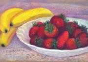 Table Cloth Pastels Metal Prints - Bananas and Strawberries Metal Print by Penny Neimiller