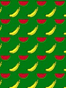 Banana Art Prints - Bananas And Watermelon Pattern On A Green Background Print by Lana Sundman