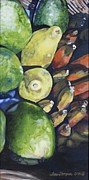 Yellow Bananas Paintings - Bananas Mangos and Papayas by Terri Thompson