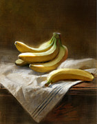 Fruit Still Life Posters - Bananas On White Poster by Robert Papp