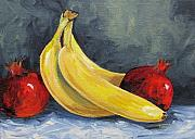 Yellow Bananas Posters - Bananas with Pomegranates  Poster by Torrie Smiley