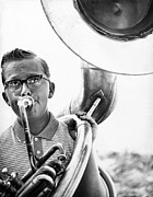 Tuba Prints - Band Member Print by Hans Namuth and Photo Researchers
