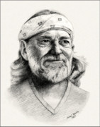 Outlaw Drawings - Bandana Willie by Mike Roberts