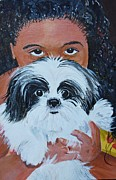 Pet And Owner Prints - Bandit and Me Print by Peggy Patti