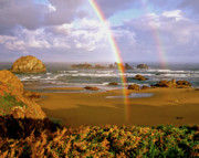 Double Rainbow Posters - Bandon Beach Rainbow Sunrise Poster by Ed  Riche