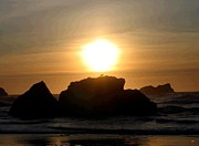 Bandon Beach Silhouette Print by Will Borden