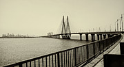 Railing Prints - Bandra Worli Sea Link Print by For me, photographs are a great medium to tell a story. Whe