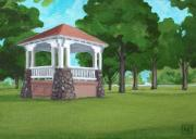 Bandstand Paintings - Bandstand at Capron Park by Lisa Kretchman