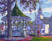 New England Village  Paintings - Bandstand by Ken Fiery