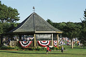Recreational Structures Prints - Bandstand With Bunting And Crowd Print by Darlyne A. Murawski
