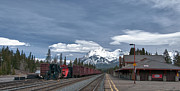 Railroad Stations Prints - Banff Train Depot 13004c Print by Guy Whiteley