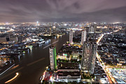 Express Way Photos - Bangkok city at twilight  by Anek Suwannaphoom