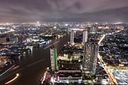 Bangkok City At Twilight  Print by Anek Suwannaphoom
