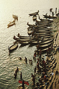 Water Taxi Framed Prints - Bangladesh, Dhaka, Buriganga River, Water Taxis, Elevated View Framed Print by Nicholas Pitt