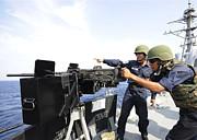 Bangladesh Navy Sailors Fire Print by Stocktrek Images