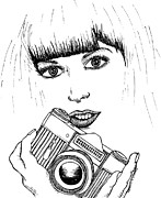 Lady Artwork Drawings Prints - Bangs and Camera Print by Karl Addison